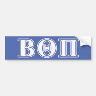 Theta beta letras blancas y azules del pi etiqueta de parachoque