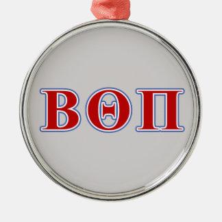 Theta beta letras rojas y azules del pi adorno navideño redondo de metal