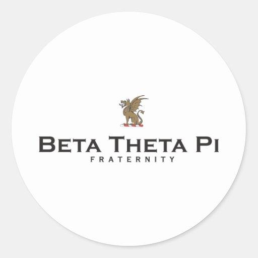 Theta beta pi con el dragón - color pegatina redonda