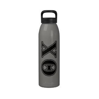 Theta Chi Black Letters Reusable Water Bottles