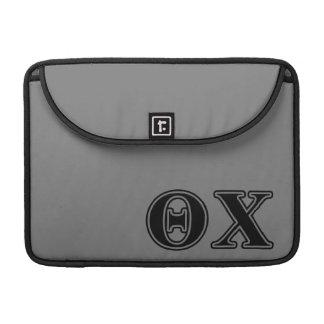 Theta Chi Black Letters Sleeves For MacBooks