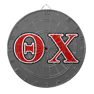 Theta Chi Red and Black Letters Dartboard