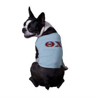 Theta Chi Red and Black Letters Dog Tshirt