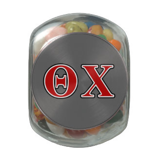 Theta Chi Red and Black Letters Glass Candy Jars