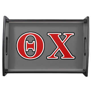 Theta Chi Red and Black Letters Serving Platters