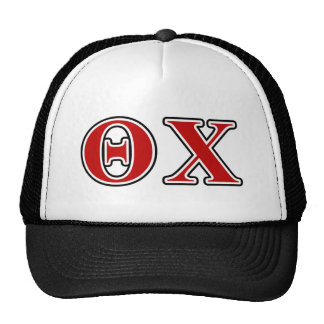 Theta Chi Red and Black Letters Trucker Hat