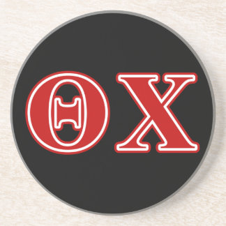 Theta Chi Red Letters Beverage Coaster