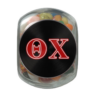 Theta Chi Red Letters Glass Jars