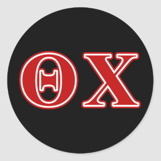 Theta Chi Red Letters Round Sticker