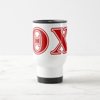 Theta Chi Red Letters Travel Mug