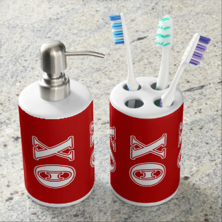 Theta Chi White and Red Letters Bath Accessory Set