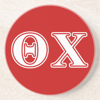 Theta Chi White and Red Letters Beverage Coaster