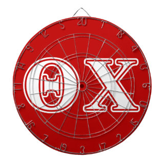 Theta Chi White and Red Letters Dartboards