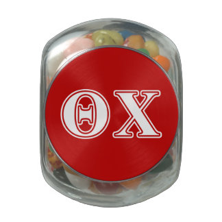 Theta Chi White and Red Letters Glass Candy Jar