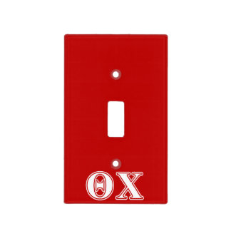 Theta Chi White and Red Letters Light Switch Cover