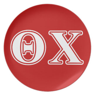 Theta Chi White and Red Letters Party Plate