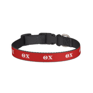 Theta Chi White and Red Letters Pet Collar