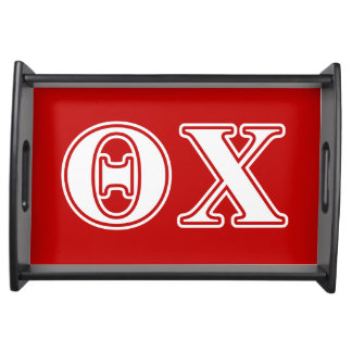 Theta Chi White and Red Letters Service Trays