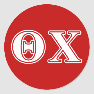 Theta Chi White and Red Letters Sticker