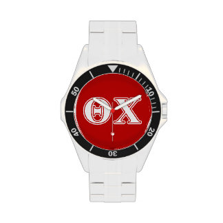 Theta Chi White and Red Letters Wristwatches