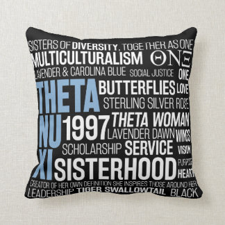 Theta Nu Xi Pillow in Black w/ Carolina Blue