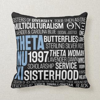 Theta Nu Xi Pillow in Black w/ Carolina Blue