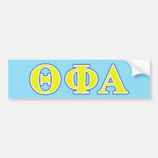 Theta Phi Alpha Yellow and Blue Letters Bumper Sticker