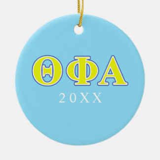 Theta Phi Alpha Yellow and Blue Letters Ceramic Ornament