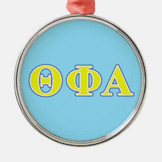 Theta Phi Alpha Yellow and Blue Letters Metal Ornament