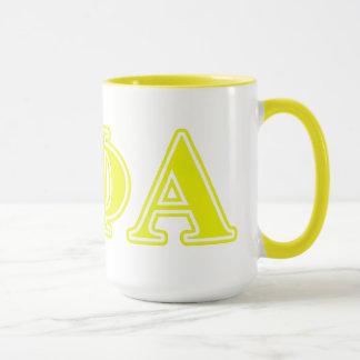 Theta Phi Alpha Yellow Letters Mug