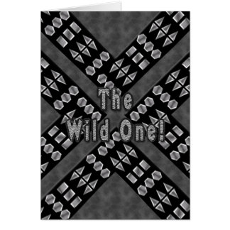 TheWild One Birthday - Studded Black Leather Greeting Card