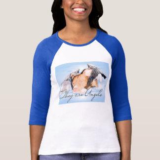 They are Angels Ladies 3/4 sleeve raglan blue T-Shirt