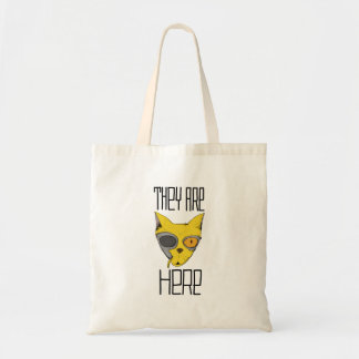 They are here - cats are aliens budget tote bag