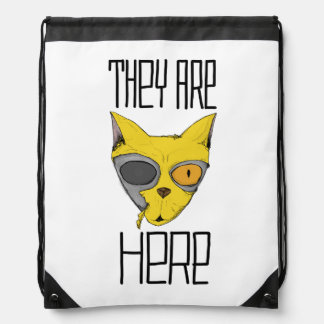 They are here - cats are aliens drawstring backpacks