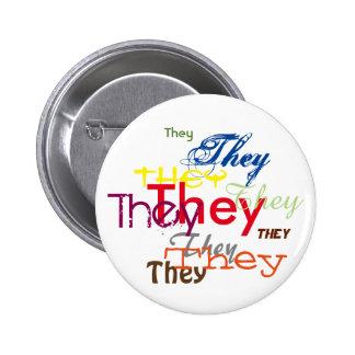 They/Custom Pronoun All Over Pinback Button