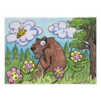 They Do Cartoon Bear in Woods flowers Humor art Poster