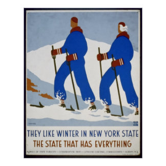 They Like Winter in New York State Vintage Poster