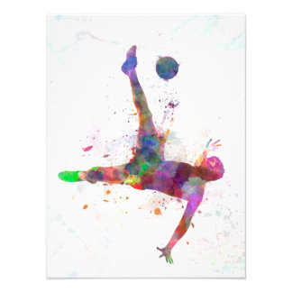 they man soccer football to player flying kicking photo