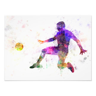 they man soccer football to player flying kicking photo print