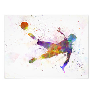 they man soccer football to player flying kicking photograph