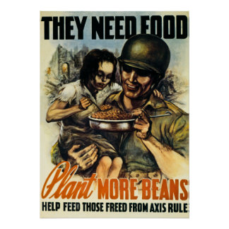 They Need Food - Vintage World War 2 Print