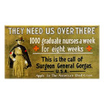 They Need Us Over There ~ Vintage Nurse. Poster