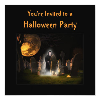 "They only come out at night Halloween Invitation 5.25"" Square Invitation Card"
