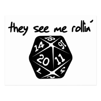 They see me rollin d20 post card
