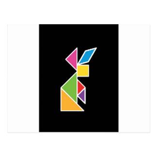 they tangram rabbit rabbit postcard