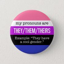 They/Them Pronouns–Genderfluid Flag Pinback Button