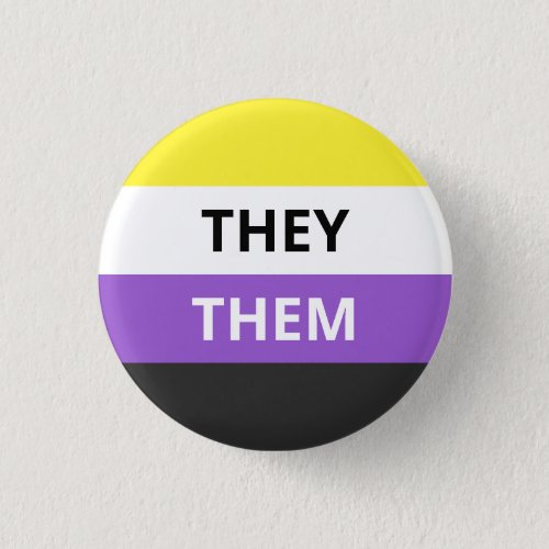 TheyThem Pronouns Non_Binary Flag Badge Button