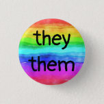 "they/them pronouns on a rainbow button<br><div class=""desc"">customize with your own pronouns!</div>"