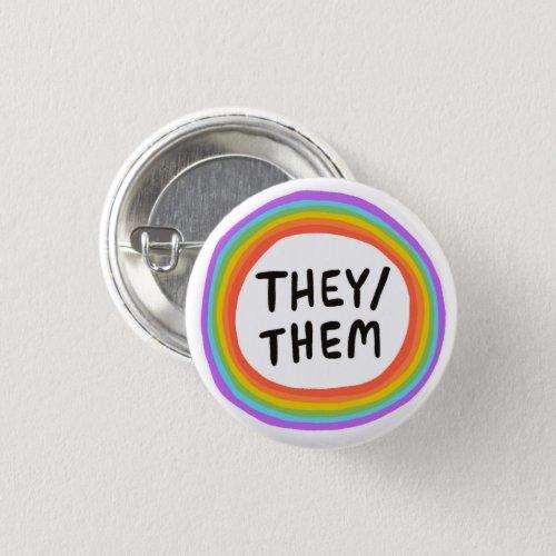 THEYTHEM Pronouns Rainbow Circle Button