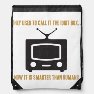They used to call it the idiot box.. drawstring backpack